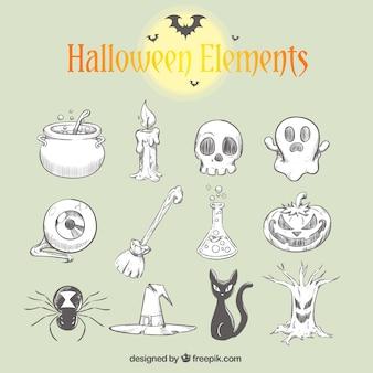 Coleção de elementos do dia das bruxas desenhados à mão