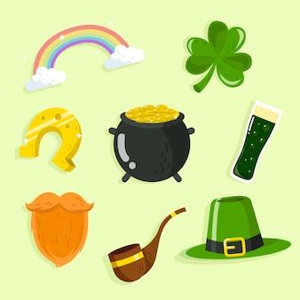 Coleção de elementos do dia de são patrício com barba e objetos da sorte