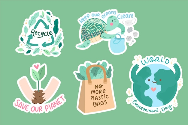 Coleção de elementos do dia do ambiente mundial desenhada à mão