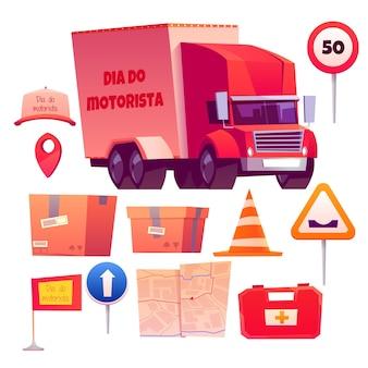 Coleção de elementos do dia do motorista para motoristas