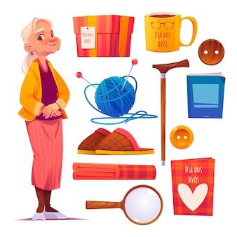 Coleção de elementos do dia dos avos dos desenhos animados