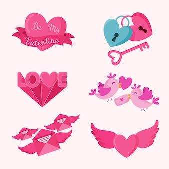 Coleção de elementos do dia dos namorados com corações