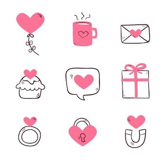 Coleção de elementos do dia dos namorados desenhada à mão