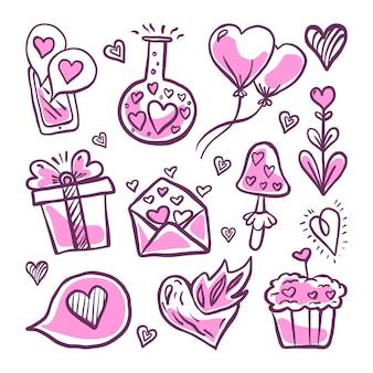 Coleção de elementos do dia dos namorados do doodle
