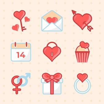 Coleção de elementos do dia dos namorados em design plano