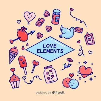 Coleção de elementos do dia dos namorados