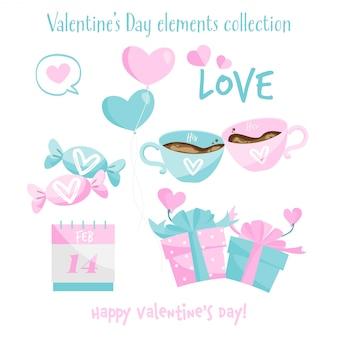 Coleção de elementos do dia dos namorados.