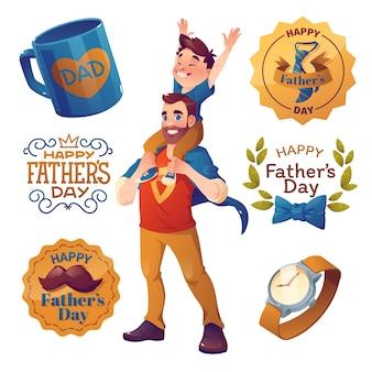 Coleção de elementos do dia dos pais de desenho animado