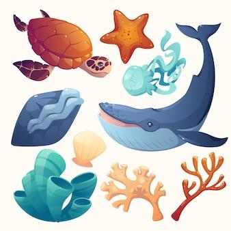 Coleção de elementos do dia mundial dos oceanos dos desenhos animados