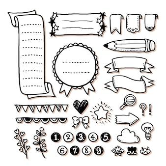 Coleção de elementos do diário com marcadores desenhados à mão