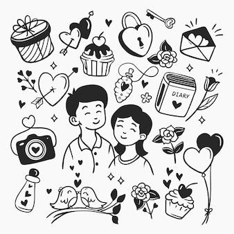 Coleção de elementos do doodle do dia dos namorados