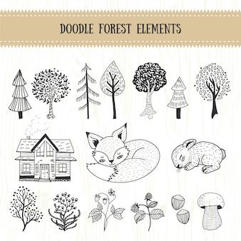 Coleção de elementos do Doodle floresta mão desenhada