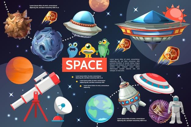 Coleção de elementos do espaço dos desenhos animados com estrelas, planetas solares, naves espaciais ufo telescópio antena parabólica