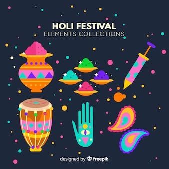 Coleção de elementos do festival de holi