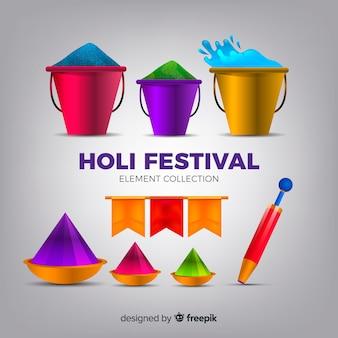 Coleção de elementos do festival holi realista
