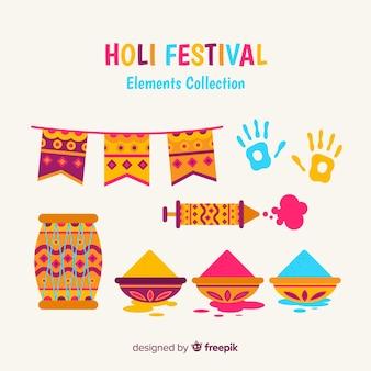 Coleção de elementos do festival plana holi