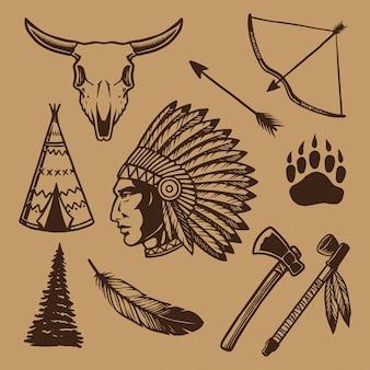 Coleção de elementos do índio americano