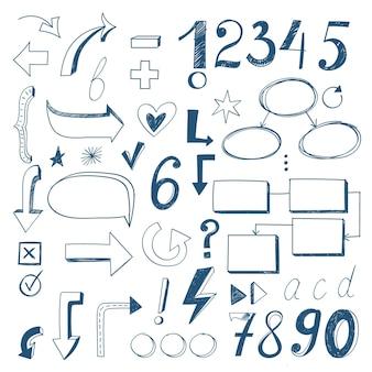 Coleção de elementos do infográfico escolar desenhado à mão
