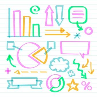 Coleção de elementos do infográfico escolar