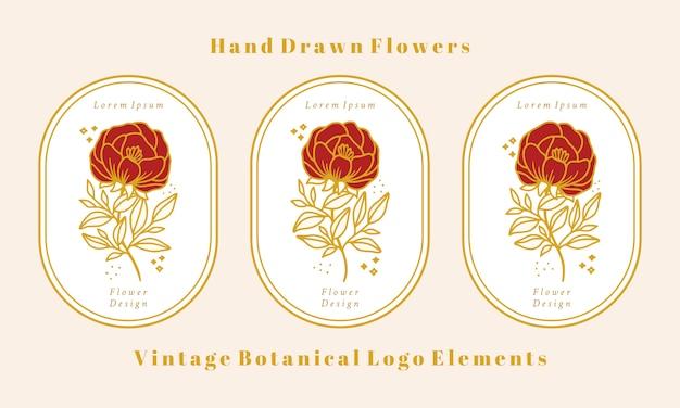 Coleção de elementos do logotipo da flor de peônia botânica ouro vintage desenhada à mão