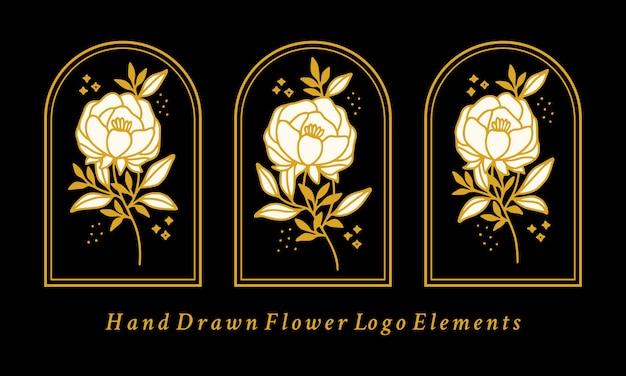 Coleção de elementos do logotipo da flor de peônia botânica vintage desenhada à mão