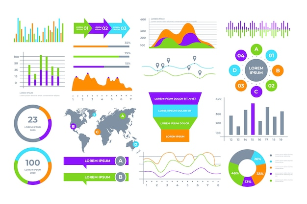 Coleção de elementos do painel de negócios