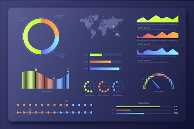 Coleção de elementos do painel do infográfico de gradiente