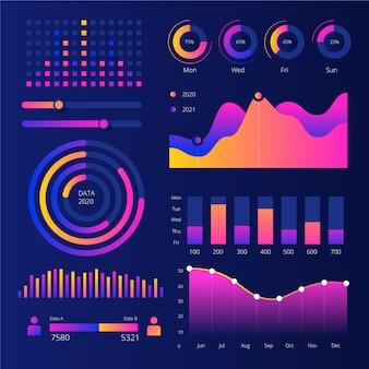 Coleção de elementos do painel infográfico modelo