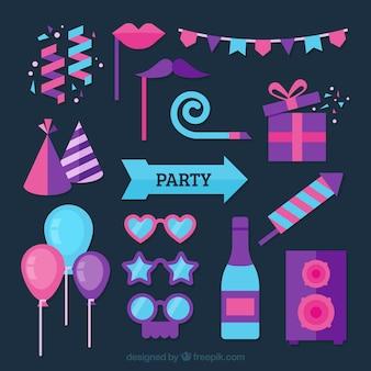 Coleção de elementos do partido do ano novo em azul, rosa e roxo