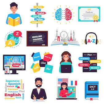 Coleção de elementos do programa de aprendizado de idiomas estrangeiros