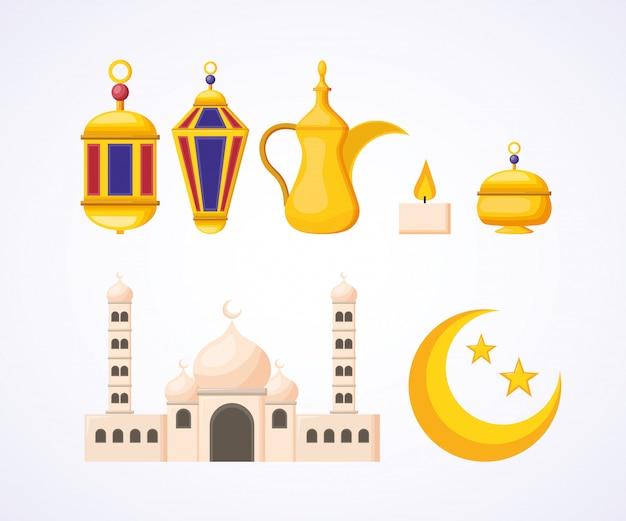 Coleção de elementos do ramadã
