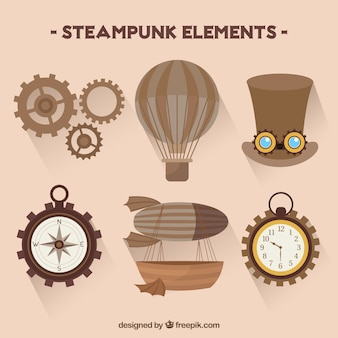 Coleção de elementos do steampunk