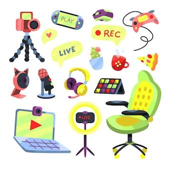 Coleção de elementos do streamer do jogo de desenho animado