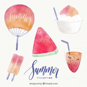 Coleção de elementos do verão pintados com aguarela
