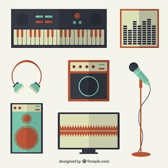 Coleção de elementos do vintage relacionados com a música