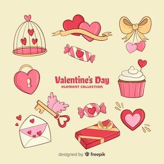 Coleção de elementos dos desenhos animados dos namorados