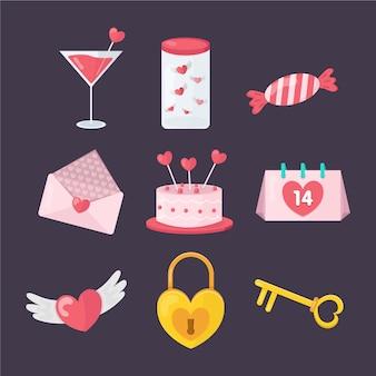 Coleção de elementos dos namorados plana de doces e presentes