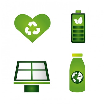 Coleção de elementos ecológicos