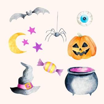 Coleção de elementos em aquarela de halloween