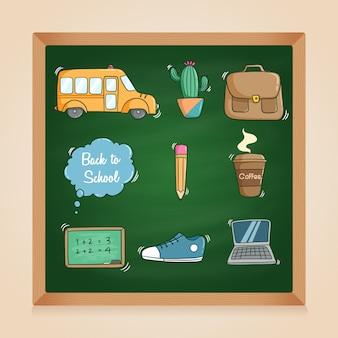 Coleção de elementos escolares com estilo doodle