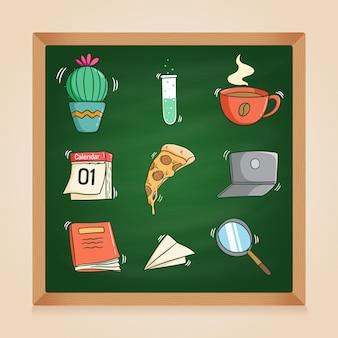 Coleção de elementos escolares fofos com estilo doodle