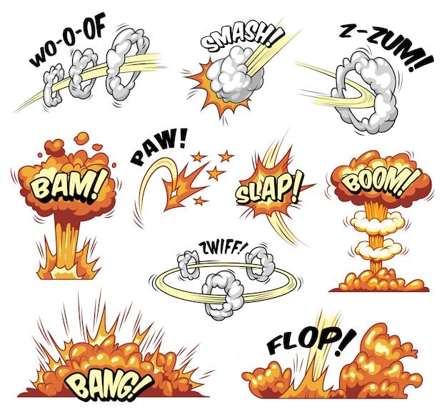Coleção de elementos explosivos coloridos em quadrinhos com explosões de explosões e efeitos de boom