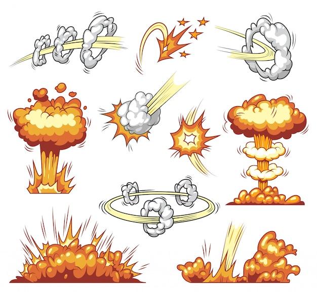 Coleção de elementos explosivos em quadrinhos
