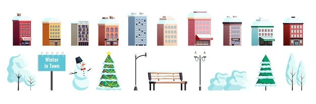 Coleção de elementos externos da cidade de inverno