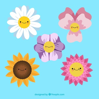 Coleção de elementos florais coloridos com design plano