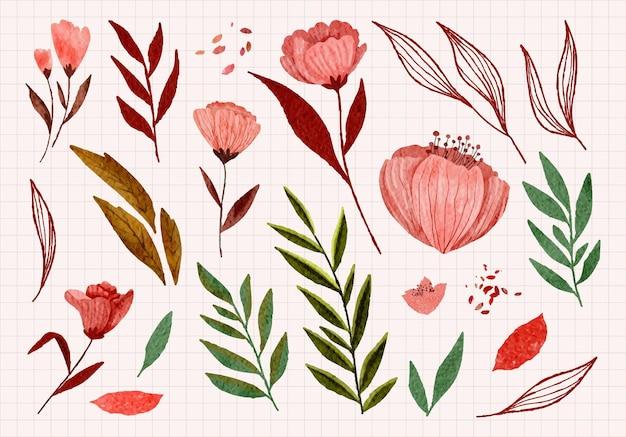 Coleção de elementos florais e penas em aquarela pintada à mão