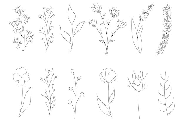 Coleção de elementos florais simples minimalistas. desenho gráfico. desenho de tatuagem na moda. flores, grama e folhas. elementos naturais botânicos. ilustração vetorial. contorno, linha, estilo do doodle.
