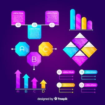 Coleção de elementos gradiente infográfico