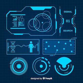 Coleção de elementos infográfico azul futurista