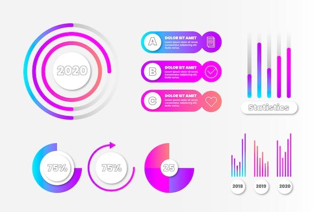 Coleção de elementos infográfico colorido e gráficos de gradiente